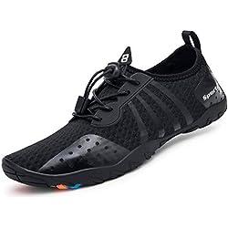 Mabove Chaussures Aquatique Homme Femme Chaussures de d'eau Chaussures de Plongée Surf Yoga Natation pour Piscine et Plage Bain Séchage Rapide(Noir.8080,44 EU)