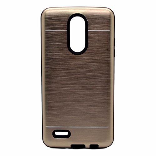 Vahalla Accesorios Funda para LG K10 2017 aluminio metálica rígida Funda trasera dura en color Dorada