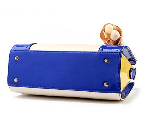 Damenhandtaschen PU Leder Handtaschen Frauen Tasche Damentaschen Ledertasche Damen Schultertasche mit Geldbörse und Dekoration Bär Rot Blau