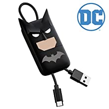 Tribe DC Comics Câble Micro USB de 22 cm, pour Téléphones Portables, Android Samsung Galaxy, Nokia, Huawei, Nexus, LG, Sony, HTC, Quick Charge - Batman