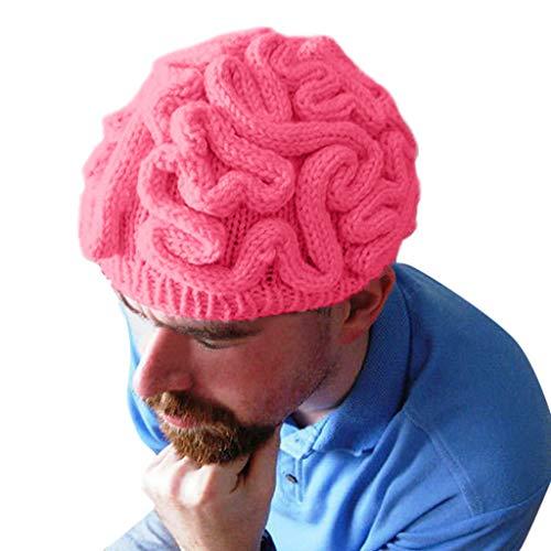 Kostüm Cool Scary - Allegorly Halloween Brain Tissue Strickmütze,Handgestrickte Persönlichkeit Gehirn Hut Kinder Erwachsene häkeln Beanie Cool Cerebrum Cap,Neuheit Hut Festival Hut