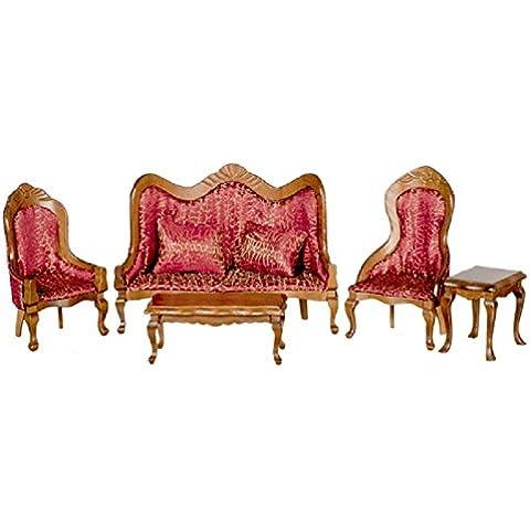 Casa De Muñecas Miniatura Victoriana Vermillion Conjunto De Muebles Salón Nuez Sofá