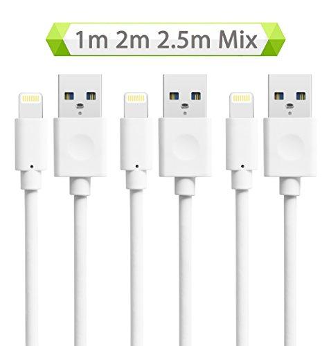Quntis® iPhone Cable - [1m 2m 2,5m] Cable de Conexión Blanco [Alta calidad], Cable Cargador & Sincronización con USB para dispositivos de iOS iPhone 7 Plus 6 6S Plus SE 5S 5C 5, iPad Mini 2 3 4, iPad Pro, iPad Air, iPod, Batería Extra