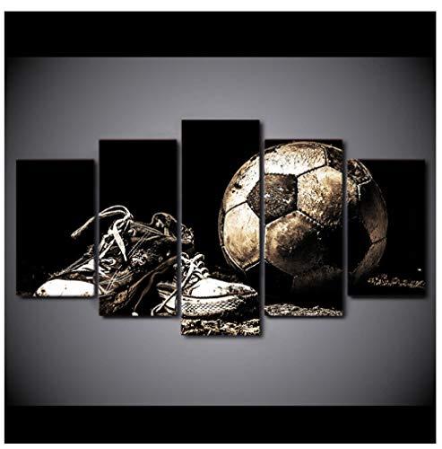 Shopxi Modulare Leinwand Gemälde für Wohnzimmer Wandkunst 5 Stück Fußballschuhe Poster HD druckt nach Hause Fußball Bilder