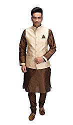 Deyann Beige Nehru Jacket and Kurta Pyjama Set