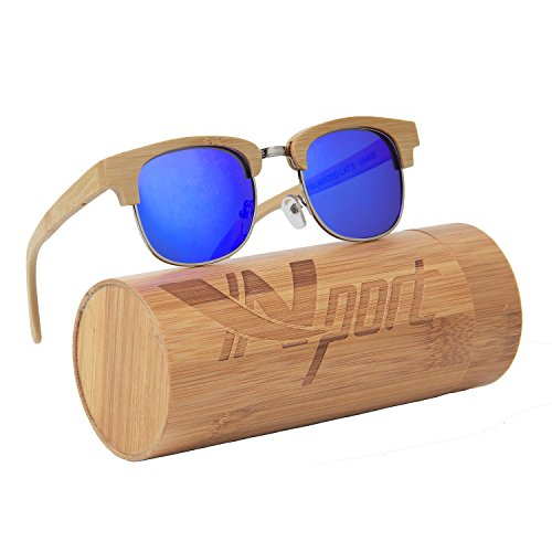 ynport crefreak bambú gafas de sol flotante hecho a mano medio marco de madera ligero gafas Wayfarer cristal con regalo caja de bambú, mujer, azul
