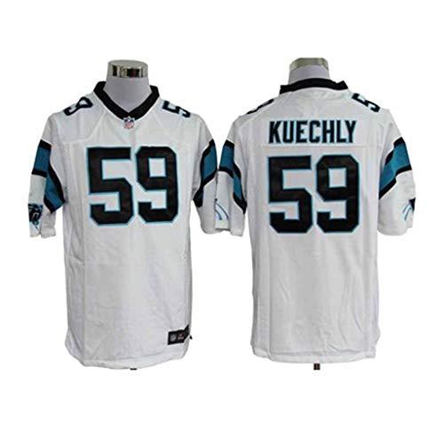 Xiaodun77 Männer Rugby Jersey Carolina Panthers 59# Kuechly Anhänger des amerikanischen Fußballs, die Kleidung-Gang-Freiensport-Kurzschluss-Hülsensportkleidung ausbilden,Weiß,L