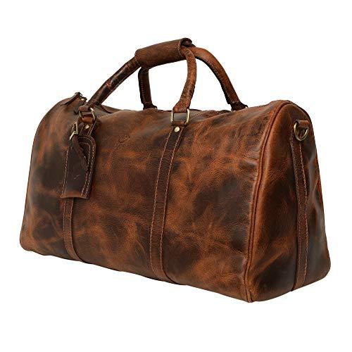 Rustic Town groß Leder Reisetasche - Carry On Vintage Umhängetasche Duffel Bag Weekender Tasche für Herren und Damen (Dunkelbraun) - Leder Duffle