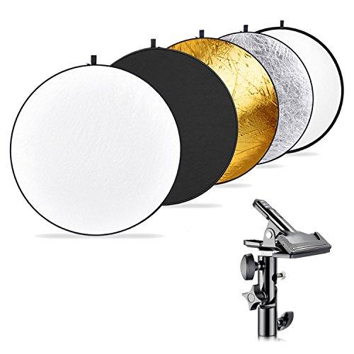 Neewer Fotografía Reflector de Luz Multi-Disco 5 en 1 (110 centímetros) con Soporte de Sujeción Metal Trabajo Pesado para Estudio Fotográfico, Reflector Plegable Translúcido/Plata/Oro/Blanco/Negro