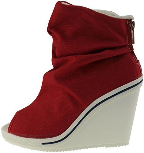 Maxstar  777-ToeOpen-Wrinkled, Peep-Toe femme Rouge - rouge