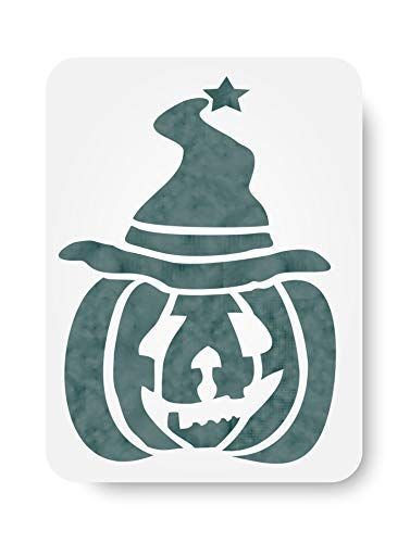 Kürbis Wizard Schablone Wiederverwendbare Schablonen für Malerei-Beste Qualität Halloween Projekt Ideen-Verwendung auf Wände, Böden, Stoffe, Glas, Holz, Karten, und mehr... Größe S