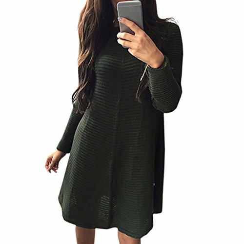 Col rond manches longues Bar Robe rayee coton femmes Casual Robes sexy armee verte