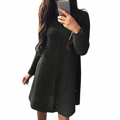 QIYUN.Z Les Femmes Tricotee a Rayures Manches Longues Couleur Unie O Cou Decontracte Robes De Base Armee Verte
