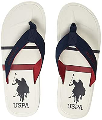 US Polo Men's Azzaro Off White Flip Flops Thong Sandals-9 UK/India (43 EU) (2531905612)