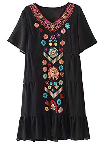 Doballa Damen Sommer Chiffon gekräuselten ethnischen floral bestickten Tunika Shift Flowy Kleid, Schwarz, M (Shift-kleid Frauen Für)