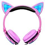 Squarex pieghevole gatto orecchio LED luci musica auricolari cuffie per portatile MP3 AS SHOW D