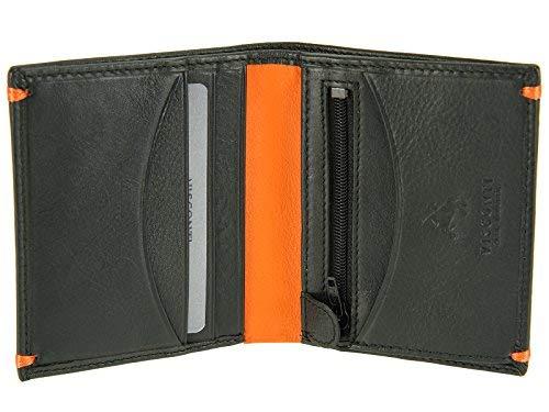 Visconti Herren Bifold Slim Geldbörse Leder für Kreditkarten, Notizen-Alpine AP61, schwarz/orange (Schwarz) - Brig AP61 Alpine Slip