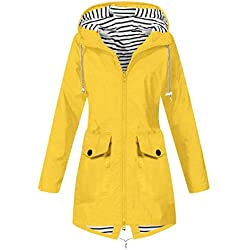 KEERADS Femme Coat Solid Outdoor Jackets Hooded Waterproof Warm Drawstring Zipper Windbreaker Longues Manteau pour Sport Camping Randonnée