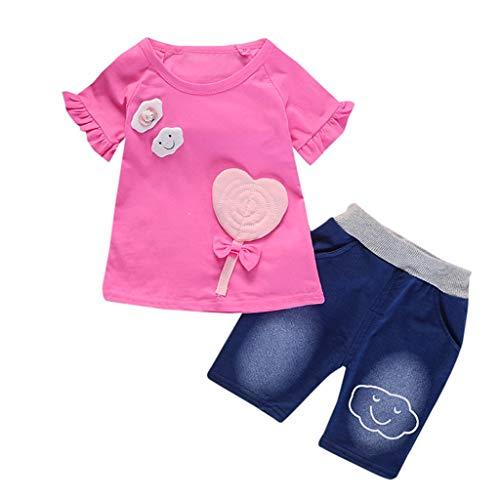 Likecrazy 2 pcs Baby Kleidung Set Mädchen Tops Oberseiten mit Cartoon Print +Hosen Shorts Outfits Set Kleinkind Sommer Bekleidung Set Niedlich ()