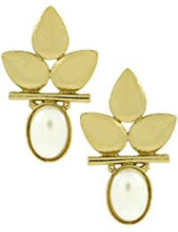 Naveli Three Leaf Floral Antique Gold Plated White Pearl Earring For Women