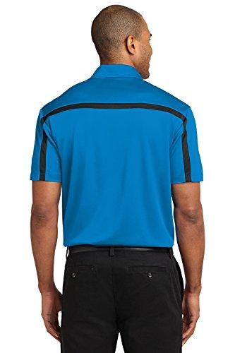 Port Authority Herren Seide Colorblock Stripe Polo Blau - Brilliant Blue/ Black