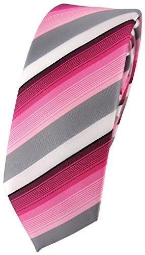 schmale TigerTie Designer Krawatte in rosa pink grau weiss gestreift - Schlips Tie