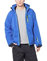 Ultrasport Everest - Chaqueta softshell alpina-outdoor de hombre con Ultraflow 10.000, color azul / amarillo, talla M