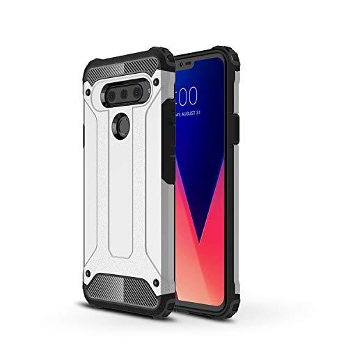 TANYO Funda Adecuado para LG V50 ThinQ, Heavy-Duty Anti-Caída Phone Case, Extraíble 2 en 1 a Prueba de Golpes Robusto y Durable Fashion Ultra-Thin Funda Protectora, Plata