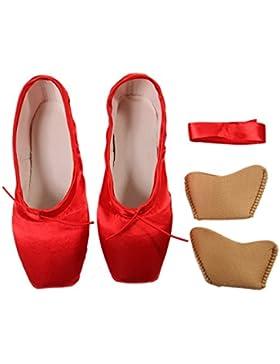 DoGeek Alta Calidad Transpirable Pointe Zapatos de Ballet Pointe Ballet Zapatillas de Ballet de Danza Baile con...