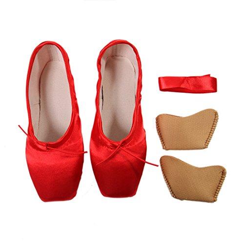 DoGeek Spitzenschuhe Ballet für Damen/Mädchen mit Spitzenschuhe Schooner professionell Ballettschuhe mit spitzenschuh Unsichtbares Band Größen 28-43(Wählen Sie 1-2 größere Größe)