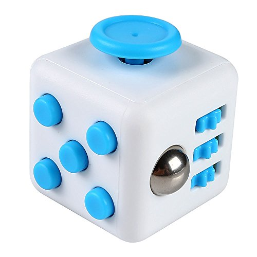 Top Quality Fidget Toy Cube Relieves Stress and Anxiety for Children and Adults (Blue/White)