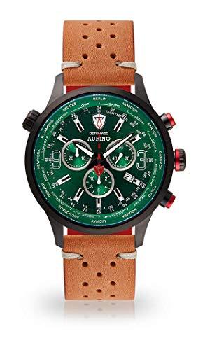 DETOMASO AURINO Montre pour Hommes Montre analogique Chronographe Quartz Brun Bracelet en Cuir Vintage Cadran Vert DT1061-K-844