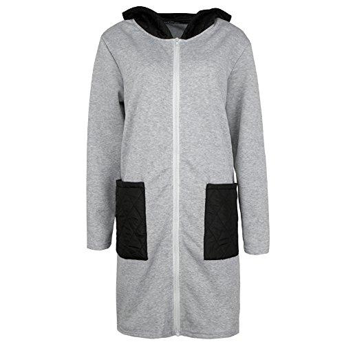Romacci Women Casual Long Hoodie Sweatshirt Coat Pockets Zip up Outerwear Hooded Jacket Size S-XL