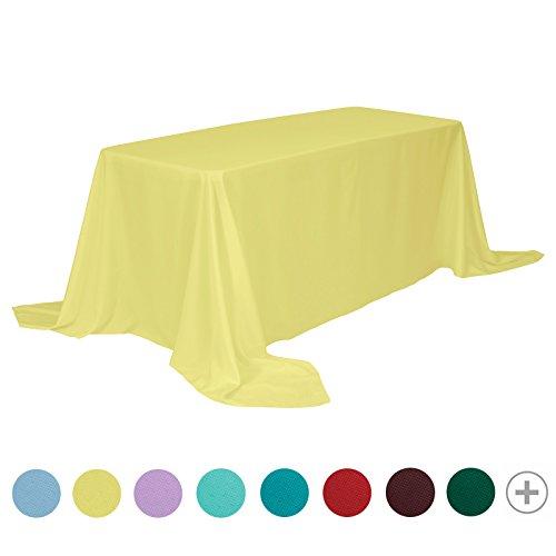 Veeyoo - tovaglia rotonda o quadrata in diverse misure, colore a tinta unita, ottima per apparecchiare la tavola per matrimoni, ristoranti, eventi, tessuto, yellow, rectangle-229 x 335 cm