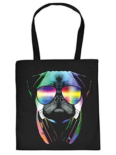 Cool bedruckte Stofftasche/Jutebeutel/Einkaufstasche in schwarz mit trendy Neon Motiv: DJ Pug - Mops mit Sonnenbrille und Kopfhörer