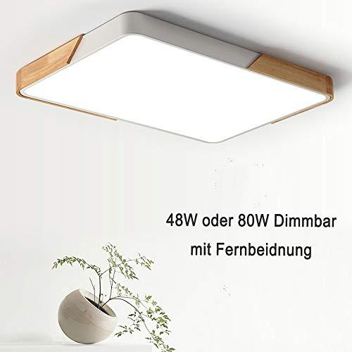 80W LED Deckenleuchte rechteckig Deckenlampe dimmbar mit Fernbedienung LED Flurlampe Küchelampe Wohnzimmer Schlafzimmer Büro (Holz & Metall)