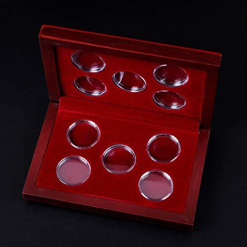 PIONIN Aufbewahrungsbox Für Münzen 10 Münzen Einstellbare Holzkiste Display Münzen Boxen Organizer Container Lagerung Inhaber Jubiläum Sammlung Runde Kapsel
