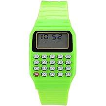Reloj - SODIAL(R)Reloj electronico de silicona de multifuncion de calculadora para ninos y jovenes verde