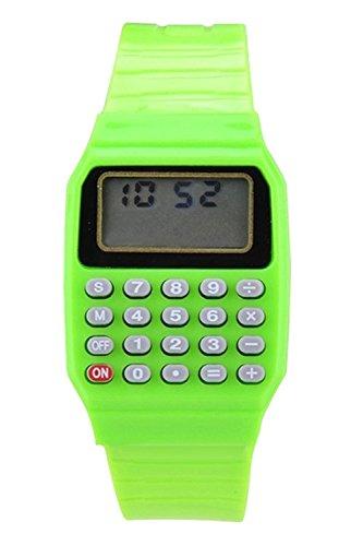 Armbanduhr - SODIAL(R) Jungen Maedchen Silikon Datumsanzeige elektronische Uhr Multifunktions Rechner Uhr Taschenrechner Uhr fuer Kinder Gruen