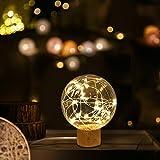 Lampada Notturna a LED, TONWON USB Lampada Ricaricabile per Casa con Supporto in Legno di Faggio - Eccellente Lampada da Notte per la Decorazione di Camera