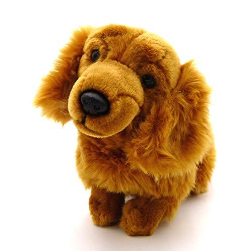 BOBBL Süßer detailgetreuer brauner Langhaardackel - sitzend - Dachshund - Plüsch Hund ca. 33 cm
