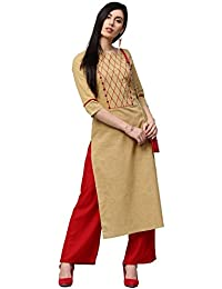 "Jaipur Kurti Women Beige Embroidered With Button Detail Straight Fit 48"" Length Cotton Slub Kurta With Red Palazzo"