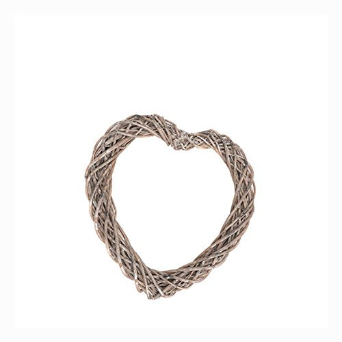 FloristryWarehouse Wicker Heart Open Grey 30cm with Long White Ribbon Wedding Decoration by FloristryWarehouse