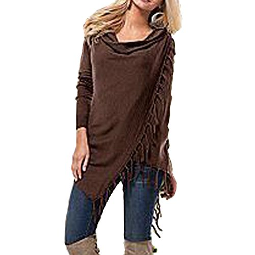 Women's Tassel Hem Crew Neck Knited Sweater Coat Outwear (Long Classic Cashmere Sleeve)