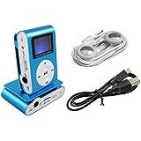 iPrime® Mini MP3 Player mit LCD bis 32 GB ohne Micro SD Karte mit Kopfhörer, eingebautem Akku und Befestigungsclip - Blau
