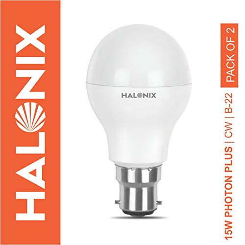 Halonix Photon Plus Base B22 15-Watt LED Bulb (Pack of 2, Cool Day Light)