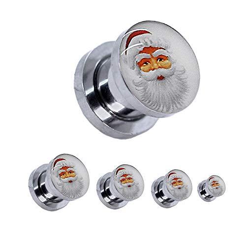 1 Set Flesh Tunnel Plug Motiv Logo Winter Weihnachtsmann Santa Claus Kopf nach Dehner Dehnstab Piercing 4 6 8 10 12 mm -