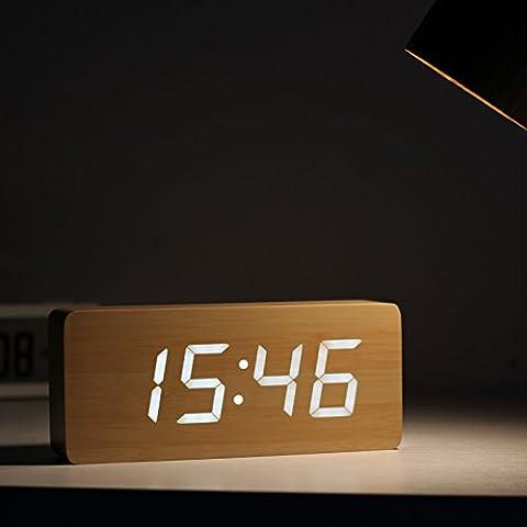 FQQRYY Classico woodenLED tacitazione allarme orologio al posto letto , bianco luce 21*4,5*9CM