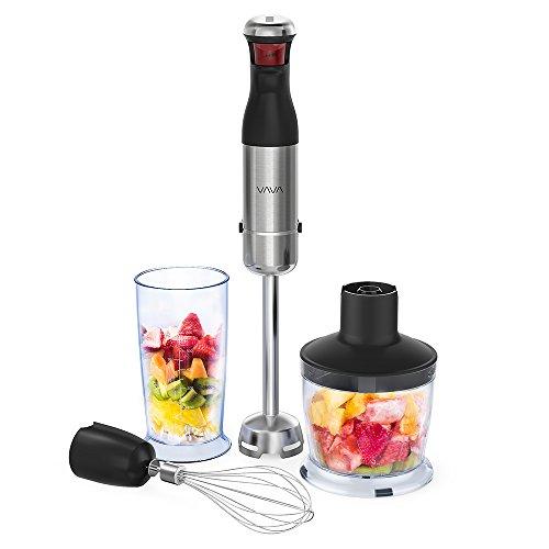 Stabmixer 3-in-1 Multifunktioneller VAVA Mixer 800W mit 5-Geschwindigkeitsstufen aus Edelstahl Spülmaschinenfest für Babynahrung Suppen Saft