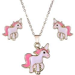 djryj Collar Pendientes Cartoon Caballo Unicornio Collar y Pendientes Joyería Rosa Regalo para Niña Joyería - Pony Conjunto Pendientes y Collar